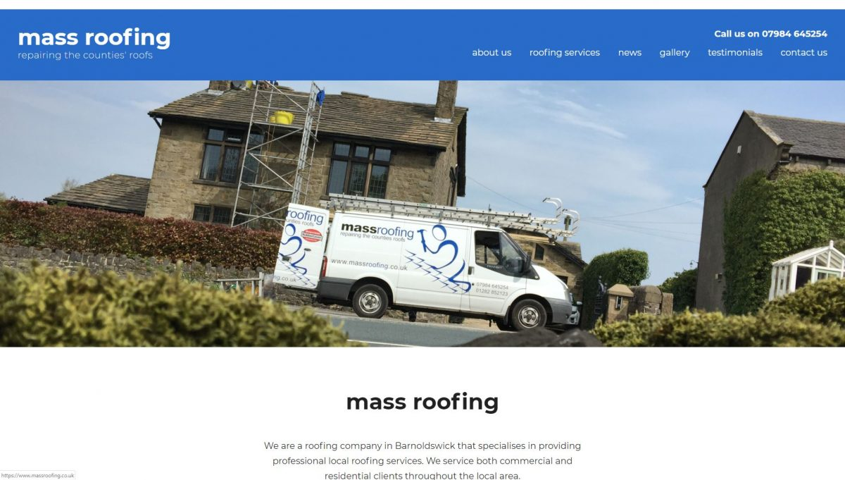 Mass Roofing website